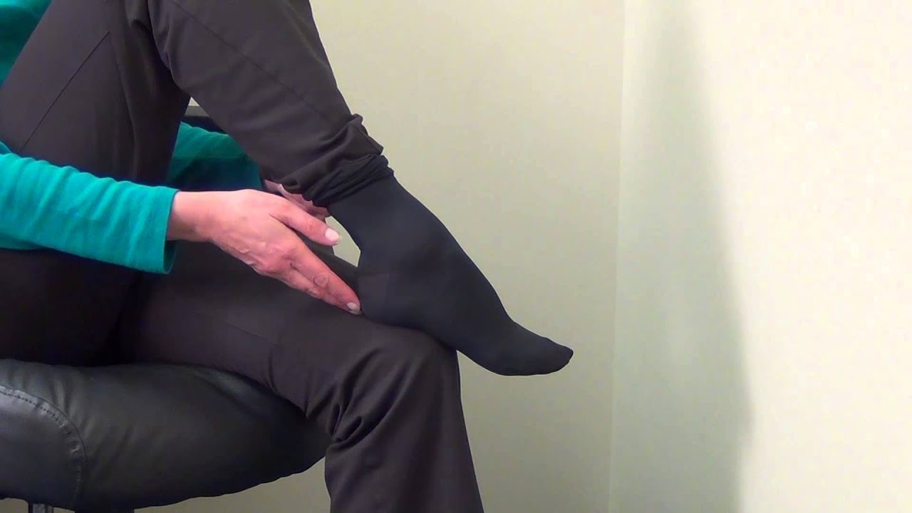 89edbcec9b4 How to put on a Dr. Scholl s Compression Sock - YouTube