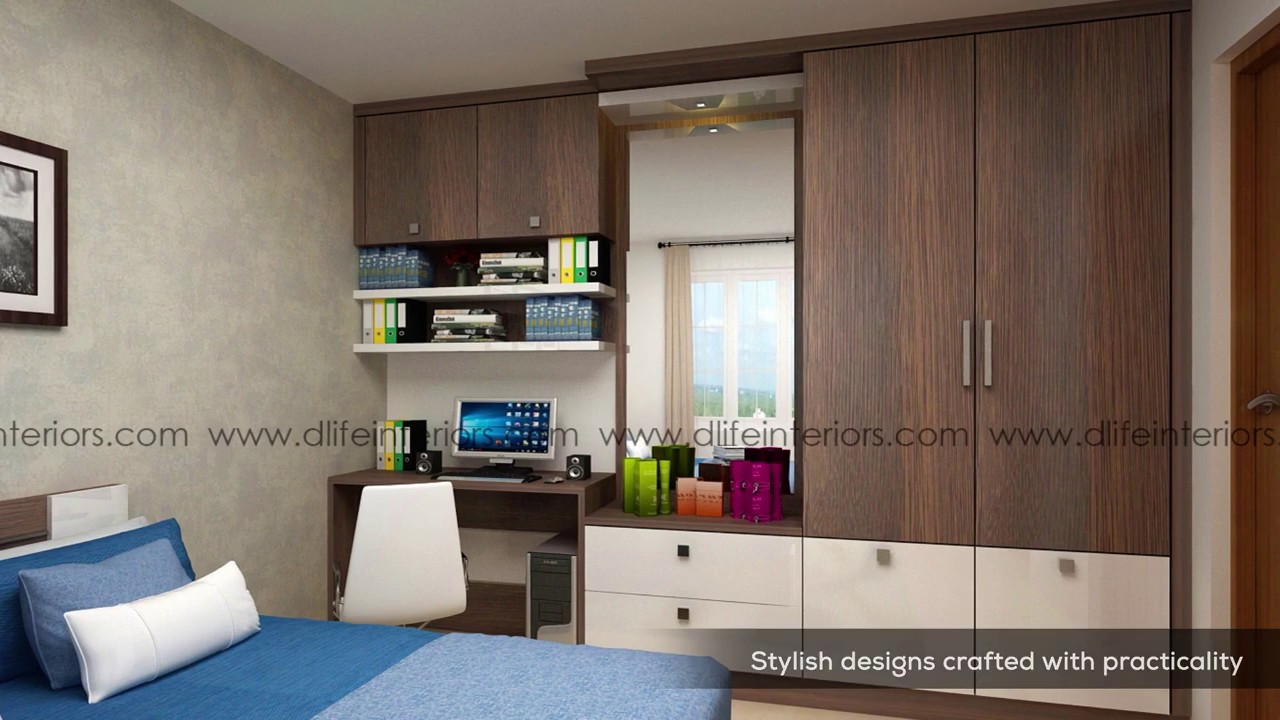 modern bedroom wardrobe designs | cupboard design with dressing & study  units | design ideas