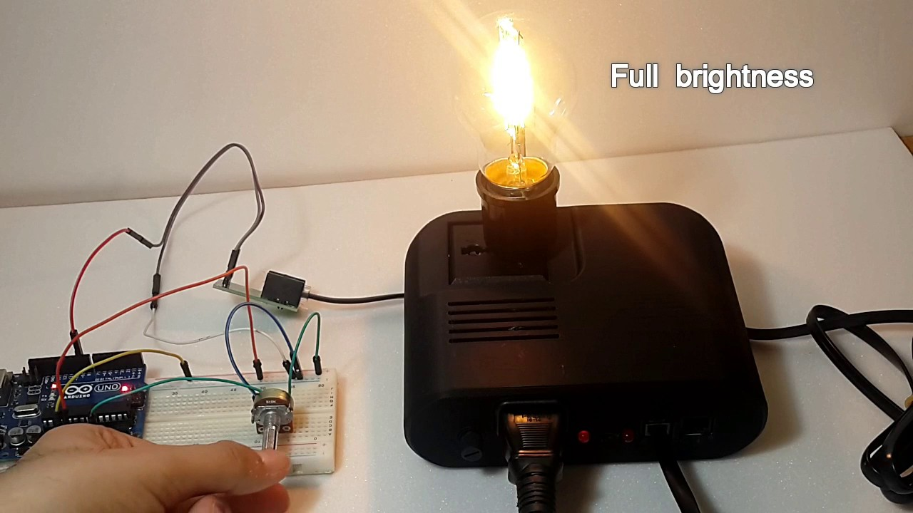 Control ac dimmer lamp using arduino and sugar device