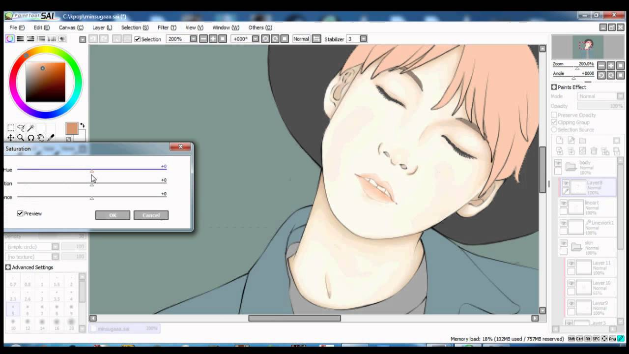Speed Paint : BTS Min Yoongi / Suga (SAI with Mouse)