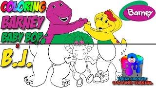 Wie man Farbe Barney, Baby Bop und B. J. - Barney und Freunde Färbung Seite