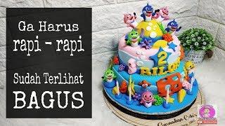 Cara menghias kue ulang tahun BABY SHARK