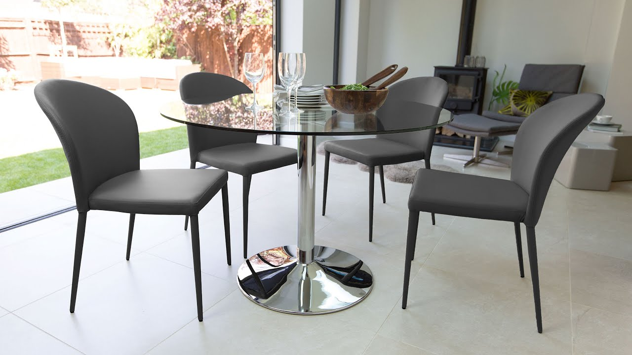 Glass Dining Table and Stackable Dining Chairs - YouTube
