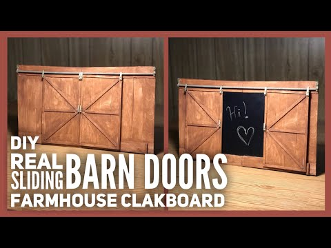 DIY Wood Real Sliding Barn Door Chalkboard Farmhouse Decor - Dollar Tree & Walmart Room Decor