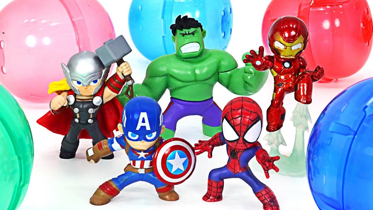 마블 어벤져스 구리히루 캡슐 슈퍼히어로 헐크, 아이언맨, 스파이더맨! | 두두팝토이