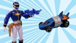 Power Rangers Megaforce Blue Ranger Action Figure and Hot Wheels Zord