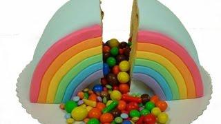 Rainbow Piñata Cake selber machen how to make a Pinata Cake