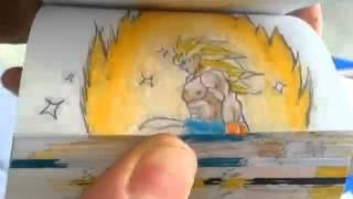 Goku turns Super Saiyan God VS Omega Shenron (FLIPBOOK).mp4