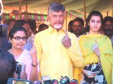 AP CM Chandrababu Naidu and his family cast their vote