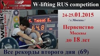 24-25.01.2015. All records second day (69 kg).Moscow Championship to 18 years.