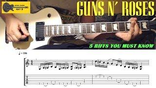 GUNS N' ROSES Guitar Riffs - Top 5 - with TABS / SHEET - Slash