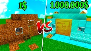 CASA de CACA VS CASA de RICO in MINECRAFT! 💲🏠 THE BEST TROLL HOUSES