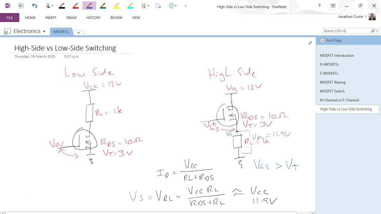 Mosfets High Side Vs Low Side Switching Youtube