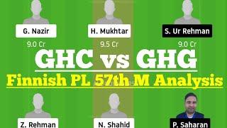 GHC vs GHG 57th Match Dream11, GHC vs GHG Dream 11 Today Match, GHC vs GHG Dream11, GHG vs GHC