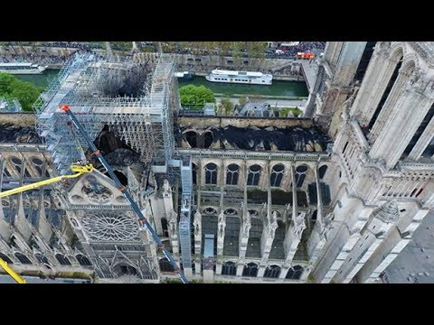 Catastrophic fire damage to Notre-Dame Cathedral captured from above