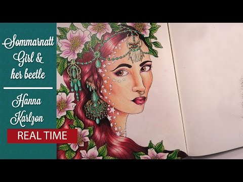 {Adult Coloring Tutorial} Sommarnatt by Hanna Karlzon: Girl & Her Beetle-Part 1