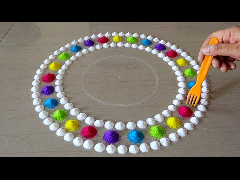 Easy And Beautiful Rangoli Design For Diwali | Navratri Rangoli Designs | Dussehra Rangoli | Kolam
