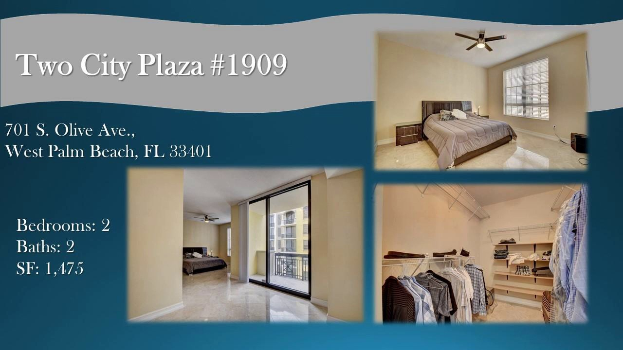 Two City Plaza Condos For Sale 701 S. Olive Ave Unit 1909 West Palm Beach,  FL 33401