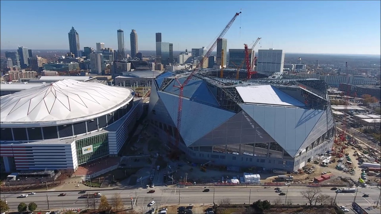 aerial views of mercedes benz stadium and the georgia dome