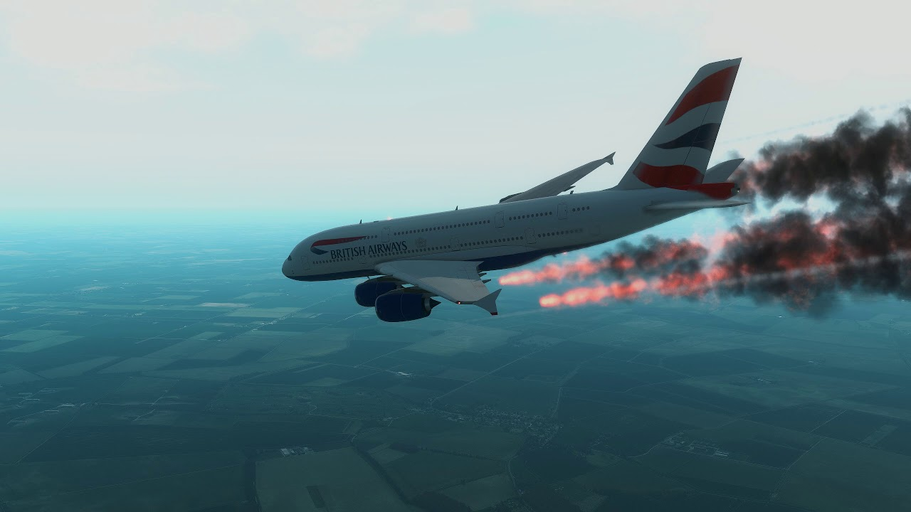 British A380 Emergency Belly Landing at England [X-Plane 11]