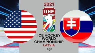 Хоккей США Словакия Чемпионат мира по хоккею 2021 в Риге период 1