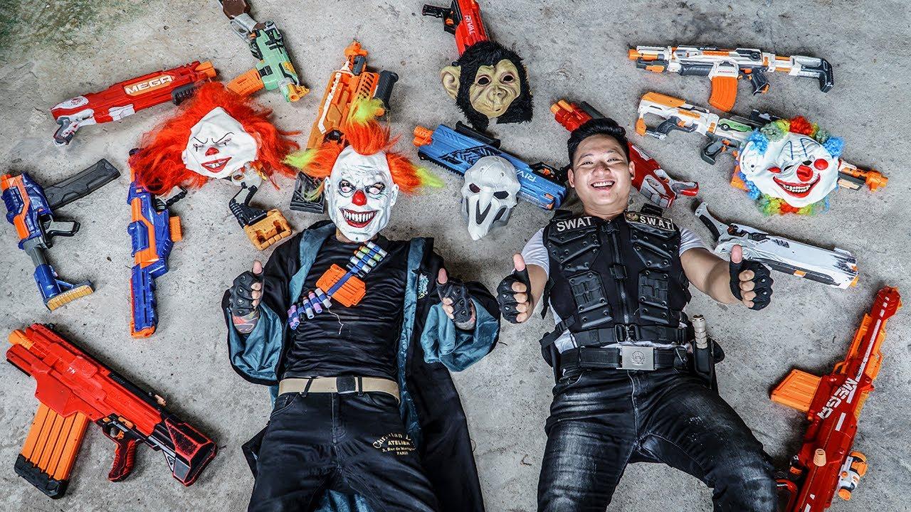 LTT Films : Elite Nerf Shooter Squad S.E.A.L X Nerf Guns Fight Criminal Gangs Black Demon Mask