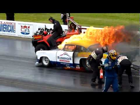 Santa Pod Main Event Engine Explosion And Car Fire Youtube