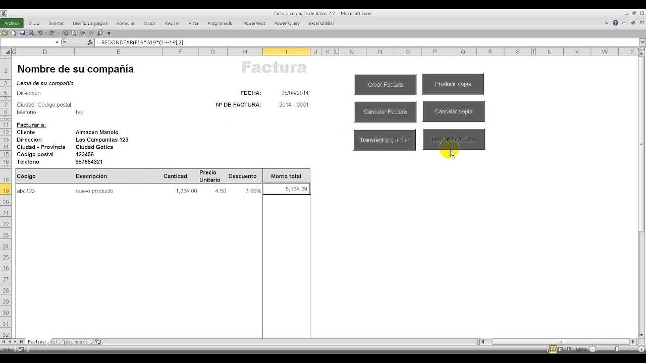 Excel Factura con base de datos - YouTube
