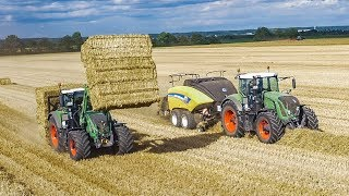 VOLLGAS beim Strohpressen | Fendt Traktoren m. New Holland StrohPressen | Lohnunternehmen von Meer