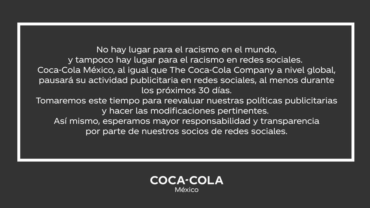 Coca-Cola México pausará su actividad en redes sociales.