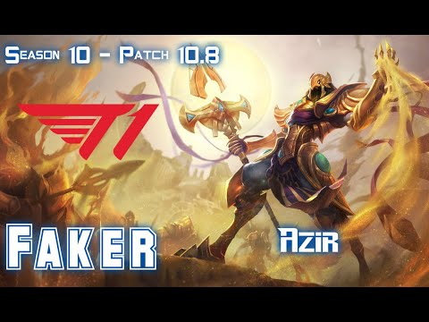T1 Faker AZIR vs CORKI Mid - Patch 10.8 KR Ranked