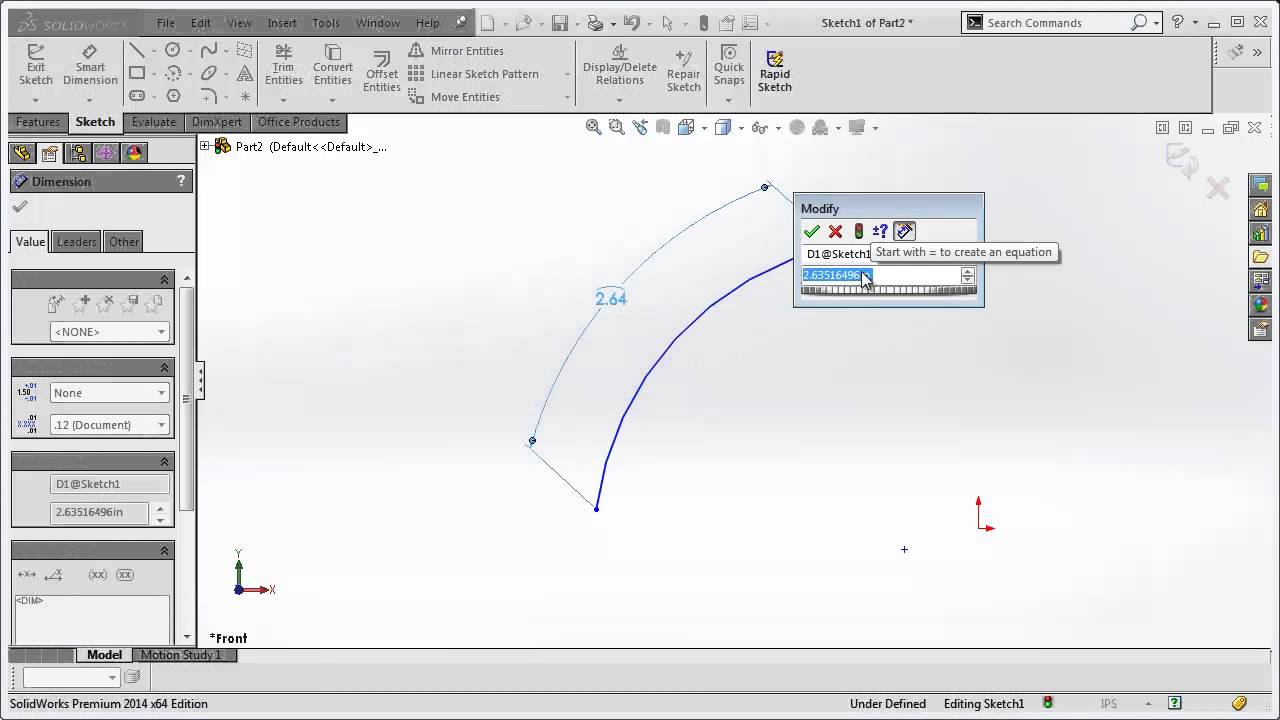 Solidworks Arc Length Dimension Tutorial Youtube
