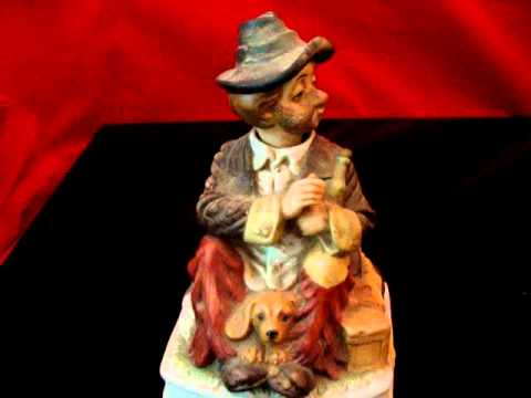 Waco Musical Animated Figure Music Clown Dog Hobo Wine Hat Luggage Works Plays Yesterday