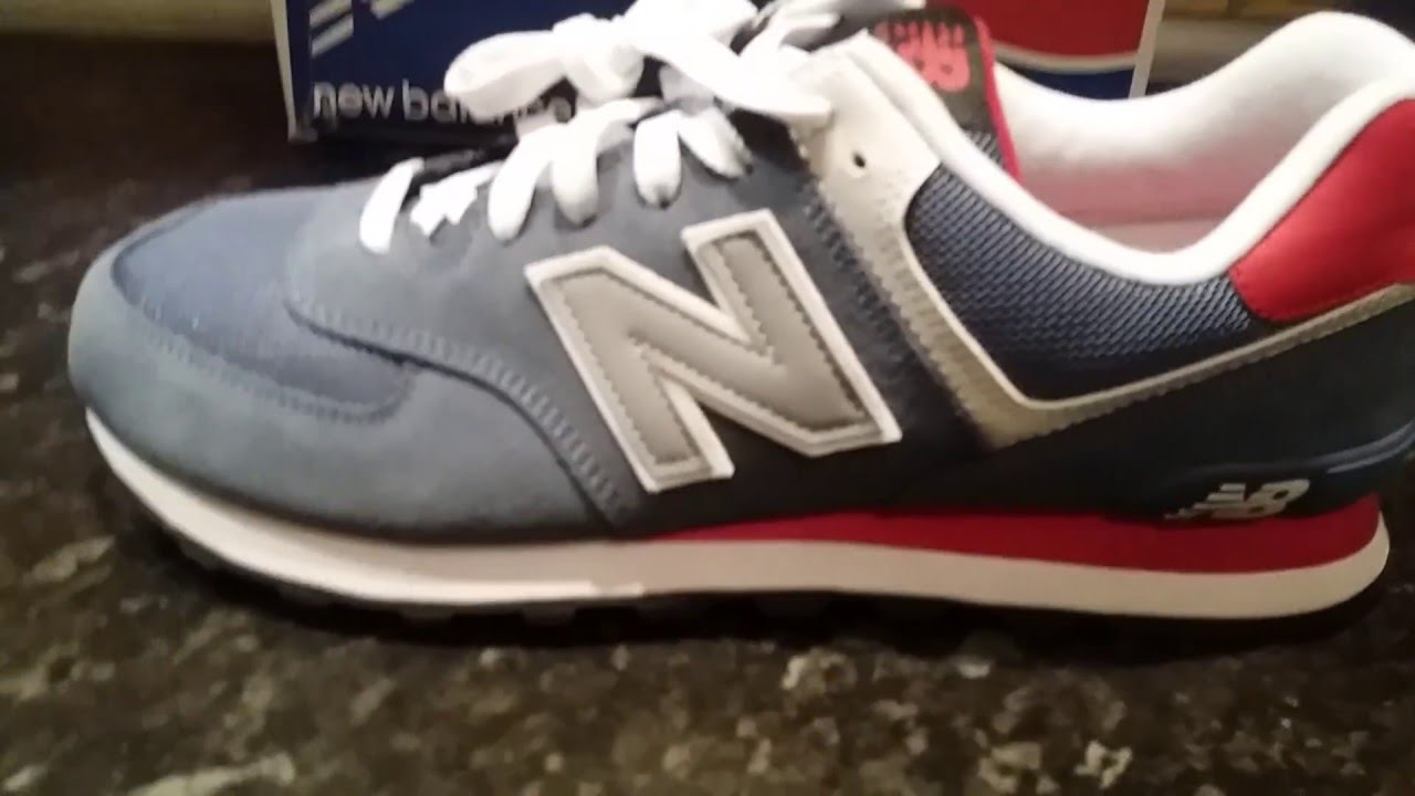 New Balance 574 (ML574CPJ) NB ML574 Classics BlueRed (unboxing, review)