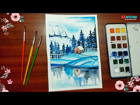 How To Draw Watercolor painting for beginners mountain landscape easy