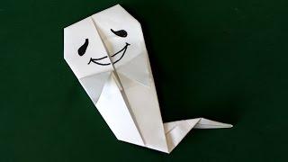 "Origami ""Halloween Ghost "" 折り紙「ハロウィンのおばけ」折り方 ▽Hall..."