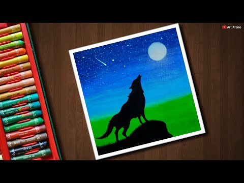 Easy Moonlight Wolf scenery drawing for beginners with Oil Pastels - step by step