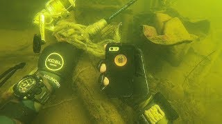 Found iPhone Underwater While Scuba Diving a Boat Ramp! (What