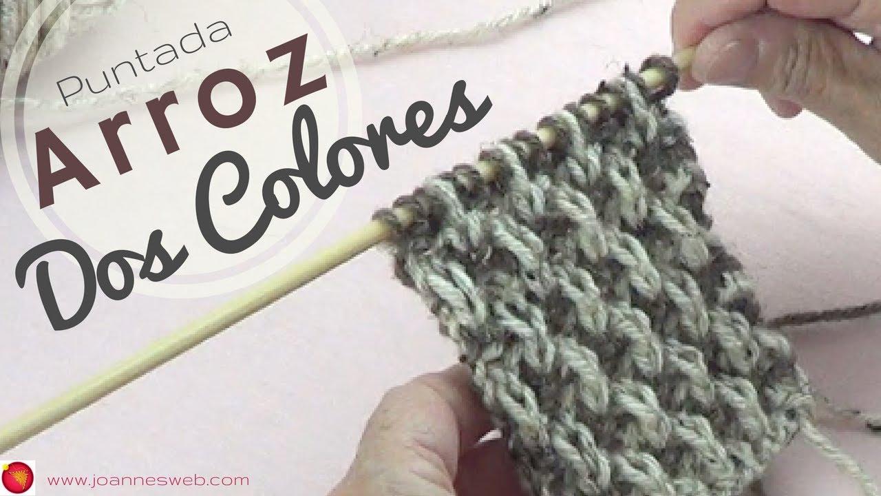 Puntada de Arroz a Dos Colores- Tejido Bicolor - Tejer Punto Arroz ...