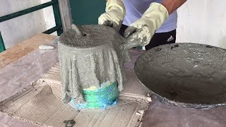 How To Make Flower Pots With Towel // Cement Pots Imitation Stone