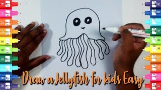 How to draw a jellyfish for kids Easy-Easy Kids Drawing Tutorial