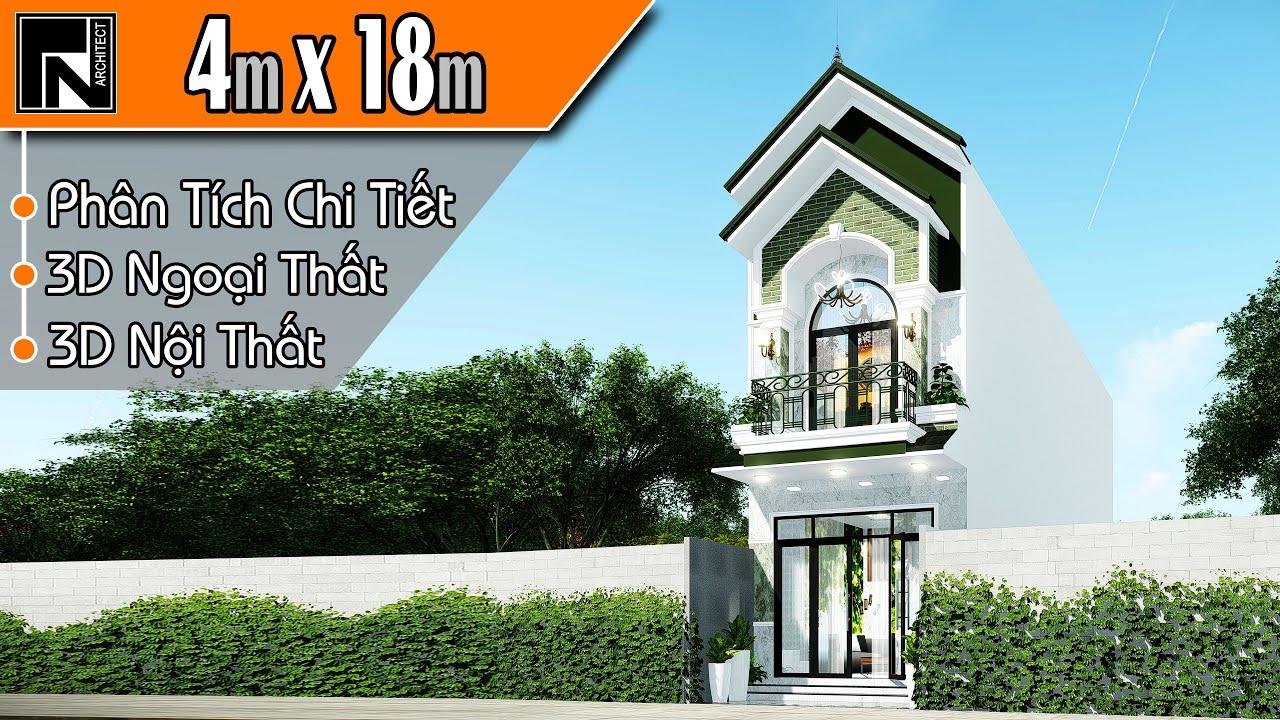 Mẫu nhà ống 2 tầng đẹp mái thái 4×18 m, 4 phòng ngủ | TNA109 | Kiến trúc TN
