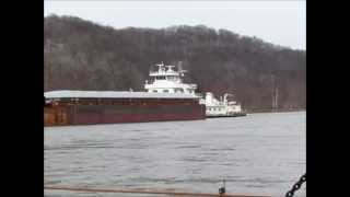 A Ferry Gives the Tugboat The Right-Of Way On The Illinois River