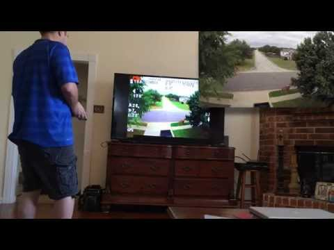 Flying my drone outdoors from the livingroom! Phantom2 FPV on TV