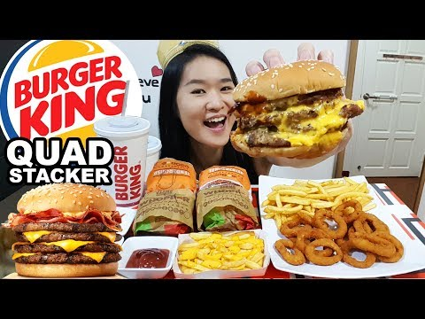 BURGER KING QUAD STACKERS! Onion Rings, Cheesy Fries, Beef & Chicken Burgers  | Eating Show Mukbang