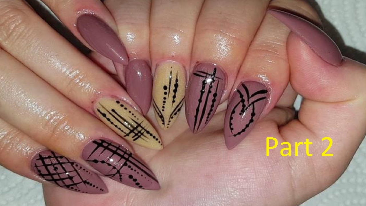 Simple Graphic Nail Art On Pointy Almond Nails - YouTube