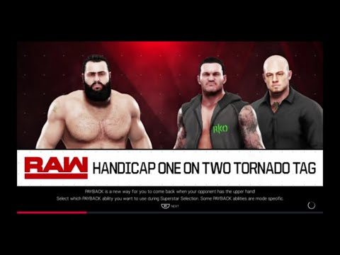 WWE 2K19 Rusev VS Randy Orton,Baron Corbin 1 VS 2 Handicap Tornado Tag Elimination Match
