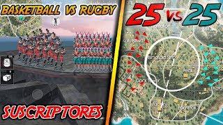EL MEJOR 25 VS 25 en FREE FIRE | BASKETBALL vs RUGBY (SALA PRIVADA) | Kurko