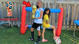 Kids pretend play Inflatable world cup Goal Challenge! family fun game
