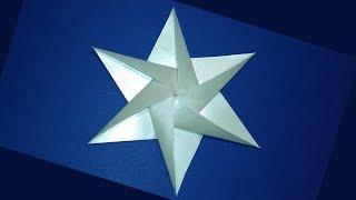 Звезда из бумаги в стиле оригами. Новогодние поделки - звезда для украшения открытки